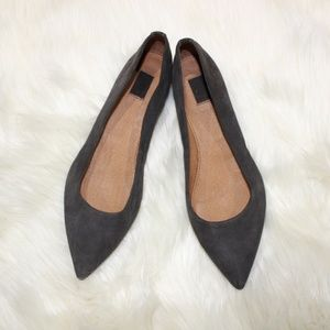 Frye Sienna Charcoal Suede Pointed Flats sz 6.5
